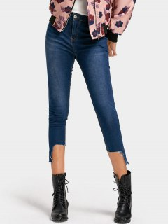 Ninth Asymmetrical Hem Pencil Jeans - Denim Blue L