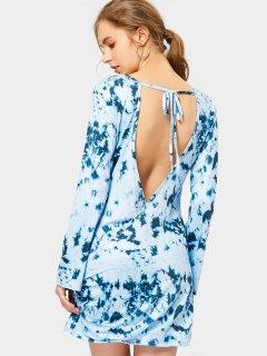 V Shaped Back Mini Tie Dye Dress - Light Blue M