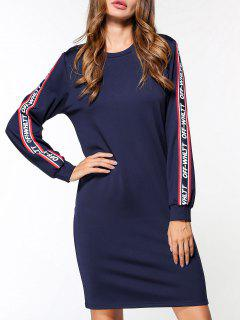Fleece Off Whltt Graphic Sweatshirt Dress - Blue L