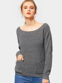 Boat Neck Drop Shoulder Pockets Sweater - Deep Gray L