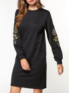 Fleece Floral Embroidered Sweatshirt Dress - Black M