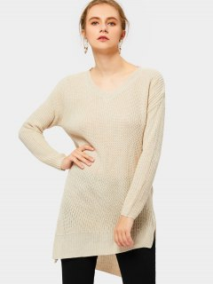 Side Slit V Neck Asymmetric Sweater - Apricot Xl
