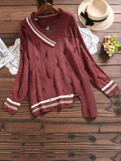 V Neck Striped Ripped Asymmetric Sweater - Claret