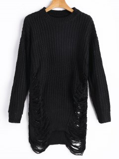 Distressed Chunky Sweater - Black