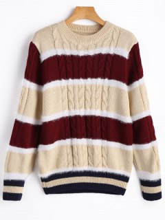 Fluffy Panel Color Block Sweater - Apricot