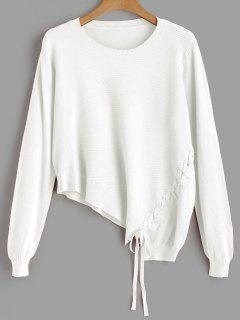 Asymmetric Lace Up Knitwear - White