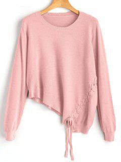 Asymmetric Lace Up Knitwear - Pink