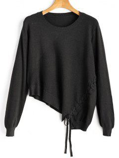 Asymmetric Lace Up Knitwear - Black