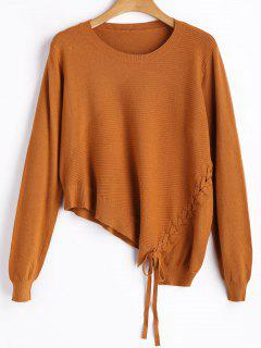 Asymmetric Lace Up Knitwear - Earthy