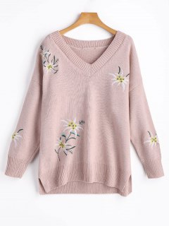 V Neck Floral Embroidered Slit Sweater - Shallow Pink