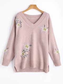 Pullover Mit V Ausschnitt Blumenstickerei Und Schlitz  - Pink