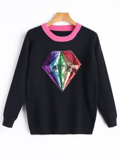 Sequined Diamond Sweater - Black