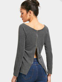 Boat Neck Back Zipper Knitted Top - Deep Gray M