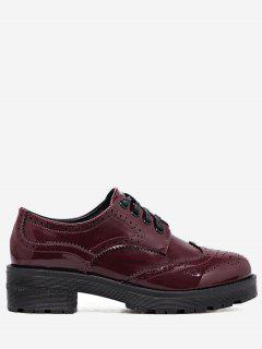 Wingtip Contrast Color Brogues Flat Shoes - Wine Red 34