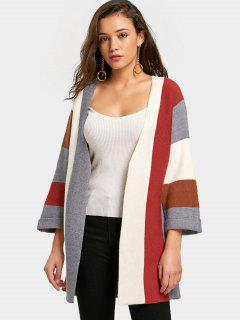 Color Block Curled Sleeve Open Front Cardigan - Coffee