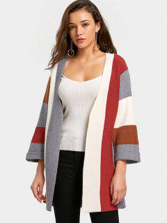 Blusa De Color Curled Sleeve Open Front Cardigan - Café