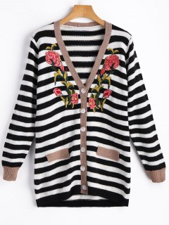 Floral Applique Striped Cardigan - White And Black