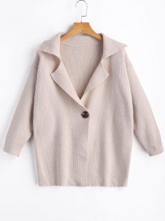 One Button Lapel Cardigan - Apricot