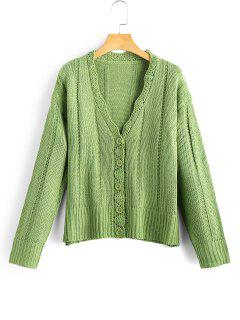 Scalloped Button Up Cardigan - Green