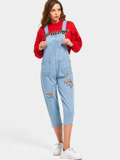 Embroidered Ripped Denim Pinafore Jumpsuit - Denim Blue S