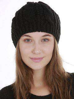 Halloween Cat Ear Decorated Slouchy Knit Beanie - Black