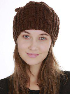 Halloween Cat Ear Decorated Slouchy Knit Beanie - Coffee