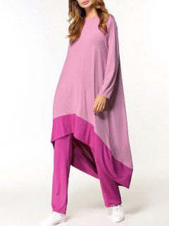 Two Tone High Low Dress And Pants Set - Pink M