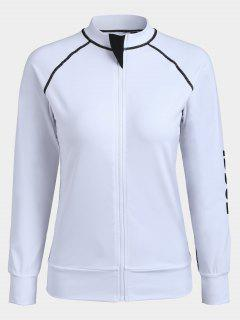 Slim Fit Zippered Yoga Jacket - White M