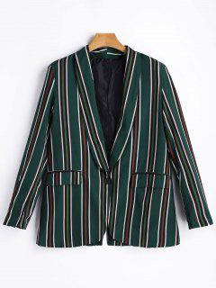 One Button Striped Blazer - Green M