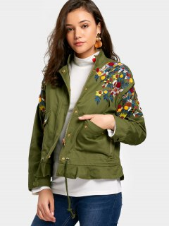 Button Up Ruffles Floral Embroidered Jacket - Army Green M