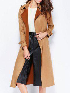 Back Slit Belted Coat With Pockets - Camel M