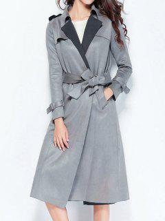 Back Slit Belted Coat With Pockets - Gray M