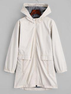 Hooded Zip Up Faux Leather Coat - Off-white L