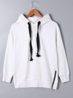 Zipper Decorated Drawstring Neck Hoodie - White M