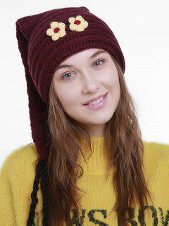 Small Flower Christmas Knit Hat Long Tail - Deep Red