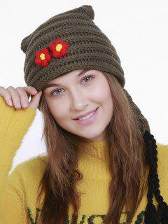 Small Flower Christmas Knit Hat Long Tail - Army Green