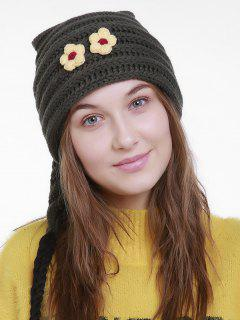 Small Flower Christmas Knit Hat Long Tail - Blackish Green