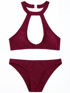 Cutout Halter Bikini Set - Wine Red S