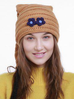 Small Flower Christmas Knit Hat Long Tail - Orange Brown