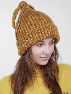 Christmas Flanging Knit Hat With Tail - Orange Brown