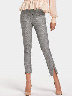 High Waisted Slit Checked Pencil Pants - Checked S