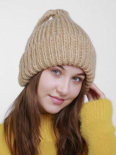 Christmas Flanging Knit Hat With Tail - Light Khaki