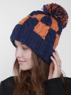 Color Block Crochet Knit Plaid Pom Hat - Deep Blue