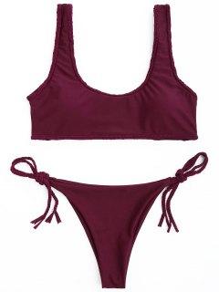 Geflochtener Trim Scoop Bikini Set - Weinrot M
