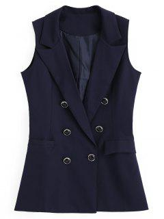 Double-breasted Asymmetrical Pockets Waistcoat - Purplish Blue S