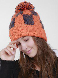 Color Block Crochet Knit Plaid Pom Hat - Orange Red
