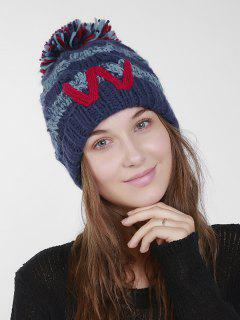 Letter W Stripe Knit Pom Hat - Deep Blue
