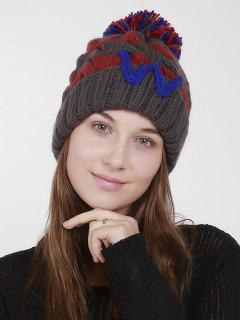 Letter W Stripe Knit Pom Hat - Deep Gray