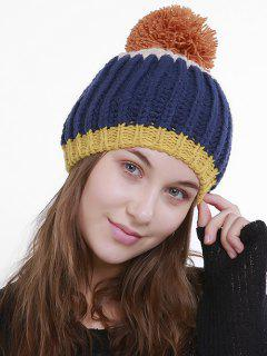 Color Block Flanging Pom Knitting Beanie - Dark Blue 3952/1#