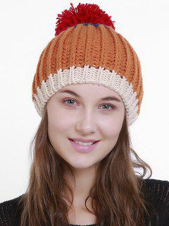 Color Block Flanging Pom Knitting Beanie - Orange